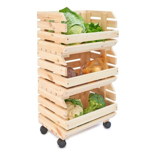 Cutie din lemn trio pentru legume si fructe, 39x30x75 cm, natur