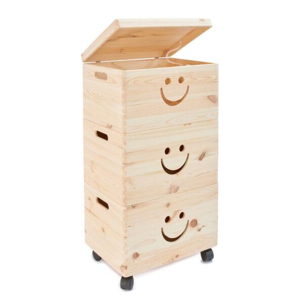 Cutii depozitare trio din lemn cu roti, model smile, 39x30x74 cm, natur