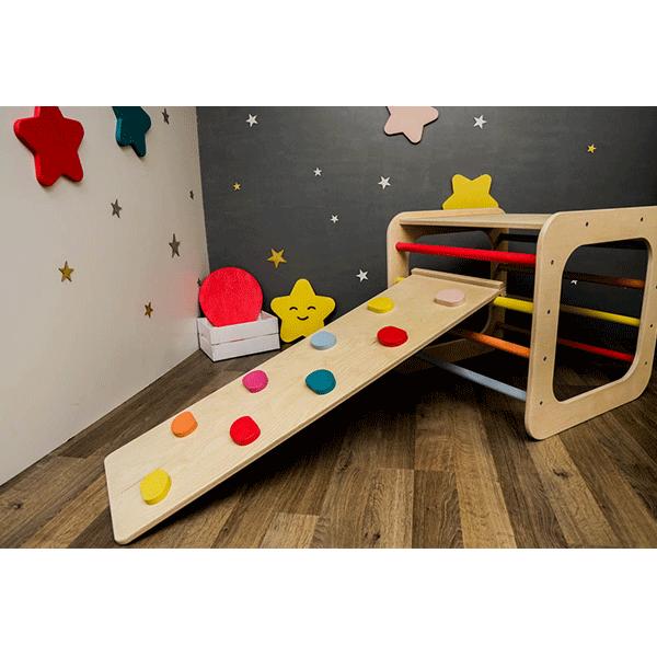 Set cub pikler tip Montessori + rampa reversibila cu margini (topogan si catarat) - www.luxeco.ro 3